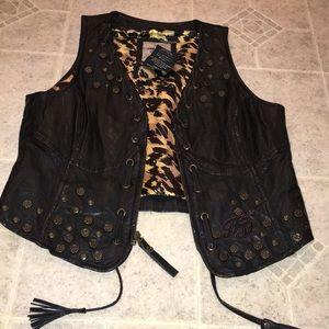 HARLEY DAVIDSON real Leather zip front vest